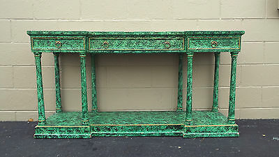 """Vintage Faux Malachite French Empire Regency Form Console Table Hollywood 50""""L"""