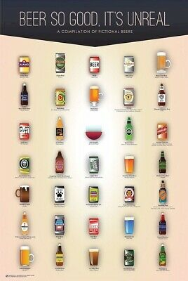 BEER POSTER ~ 35 FICTIONAL BREWS 24x36 Simpsons Duff Family Guy Pawtucket Ale