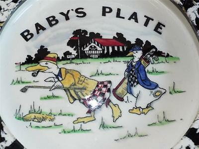 Early Carlton Ware Golf Golfing Geese Baby's Plate,c1920's.