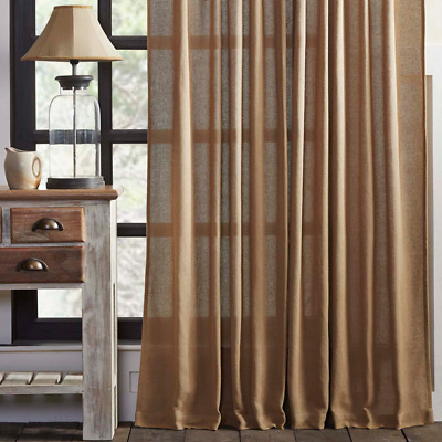 Burlap Natural Window Panels Set Rustic Primitive Farmhouse Curtains Beige Tan