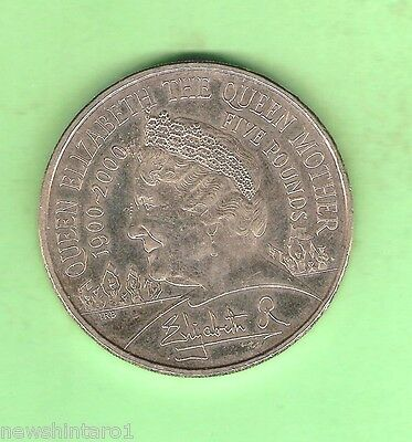 #C18. TWO GREAT BRITAIN 5 POUND COINS, QUEEN MOTHER 1900 to 2000