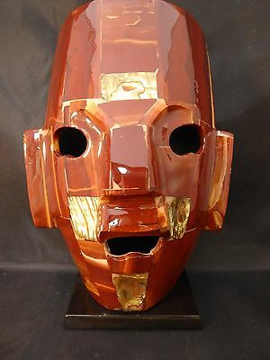 """Patchwork MASK SCULPTURE Mounted on Black Base FACE LACQUER ABALONE MOP 8"""""""
