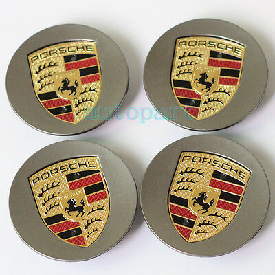 "Gray 4PCS 3""(76mm) Wheel Centre Caps Hub Badge for Porsche 911 Boxster Cayenne"