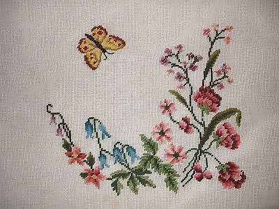 EP 3653 Vintage Butterfly Floral Preworked Needlepoint Canvas
