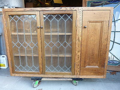 PRETTY custom made OAK kitchen CABINET salvaged OAK & leaded glass doors 57 x 39