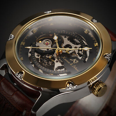 KS Navigator Mens Skeleton Leather Automatic Mechanical Classic Wrist Watch+Box