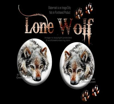 Lone Wolf Earrings Wild Wolves Wildlife Art Post Stud Pierced Jewelry Free Ship*