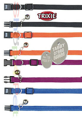 TRIXIE Quality Elastic Cat Collar With or Without a ENGRAVED PET ID TAG / Tags