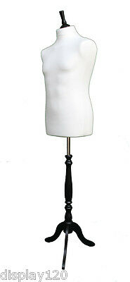 DELUXE MALE Dressmakers Dummy Mannequin Tailors WHITE Bust BLACK Stand