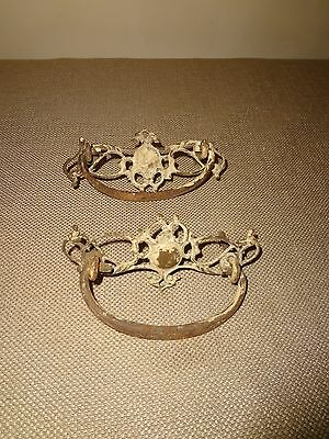 Set of 2 Old Antique Matching Ornate Dresser Drawer Pulls - To Restore