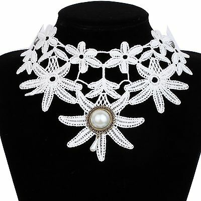 Trendy White Fabric Lace Collar Choker Flower Noble Lolita Gothic Necklace Women