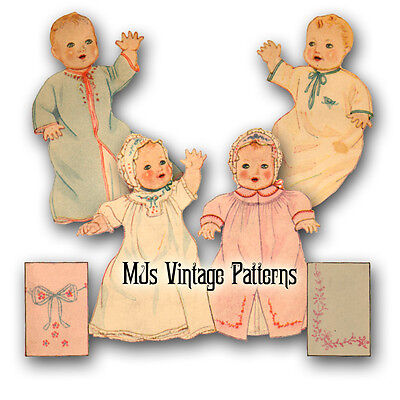 """Vintage 1930s Baby Doll Clothes Pattern ~ 13"""" 14"""" for Patsy Composition"""