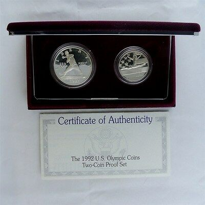 1992 Olympic Commemorative Silver Dollar & Half Dollar 2 Piece Proof Set