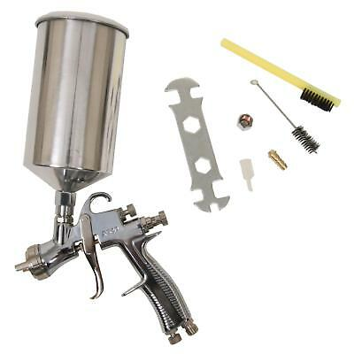 Paint Spray Gun LVLP Polished Aluminum Gravity Feed 1.7 mm Nozzle 1000 ml Cup