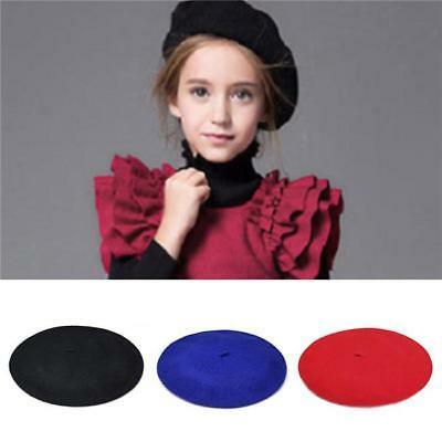 Fashion 100% Wool Children Girls Kids Felt French Beret Beanie Hat Cap 13Color Z