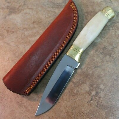 "8"" Sleek Skinner Hunting Knife Bone Handle, Genuine Leather Sheath DH-8002 zix"