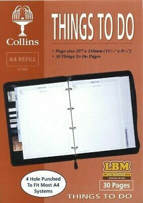 Collins A4 Organiser Things To Do Conference Folder Refill Insert CF1006