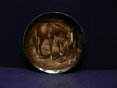 KAISER CHINA COLLECTOR PLATE - STABLE DOOR - FIRST STEPS Horse and Foal