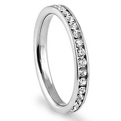 316L Stainless Steel Eternity CZ Eternity Wedding Band Ring 3mm