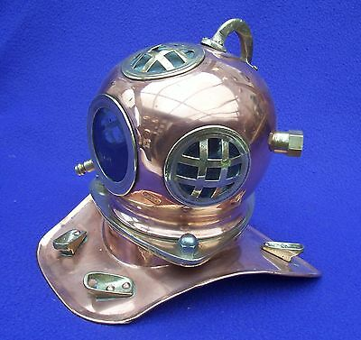 COPPER MARINE DIVERS HELMET WITH BRASS FITTINGS IN NICE CONDITION