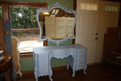 Antique French Provincial Vanity Desk & Mirror Painted Anne Sloan Blue Chalk Pnt