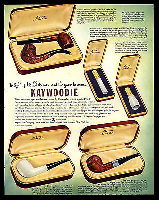 Antique Original 1947 Kaywoodie Meerschaum Pipes Vintage Art Print  Ad