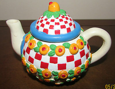 MARY ENGELBREIT MINIATURE TEAPOT TRINKET BOX Red/White Checks, Yellow/Red Flower
