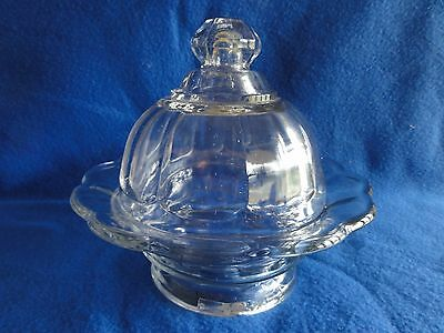 Vintage Paneled Scalloped Edge Covered Butter/Cheese Dish