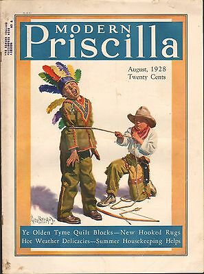 AUG 1928  MODERN PRISCILLA magazine PLAYING COWBOYS INDIANS
