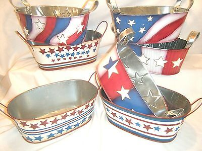 Lot of 7 Oval Tin Basket Metal Handle 4th of July Fourth Fruit Basket Americana