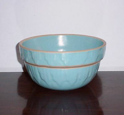 Stoneware Bowl Robin's Egg Blue Yellow Ware Pottery Crock Picket Fence USA