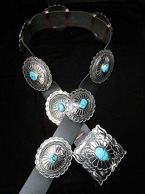 Navajo Silver and Turquoise Concho Belt Royston Mine LARGE Signed LM *GR012