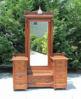 Stunning Carved Oak Victorian Cheval Mirror Dresser Vanity with Original Light