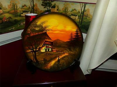 GERMAN CHARGER PLATE ARTIST SIGNED 3759 BARN WONDERFULLY PAINTED