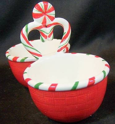 """FITZ AND FLOYD """"SUGAR COATED CHRISTMAS"""" DIVIDED BOWL NEW IN ORIGINAL BOX"""