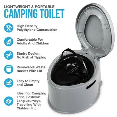 5L Grey Portable Camping Toilet Manual Compact Potty Loo Caravan Picnic Fishing