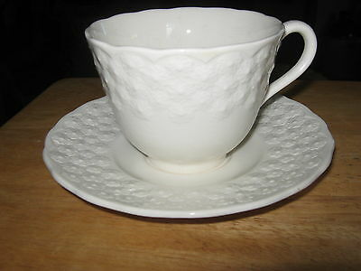 Copeland Spode England  Tea Cup and Saucer White Embossed floral pattern