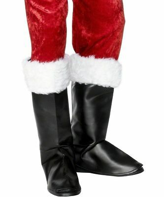 Mens Black Father Santa Christmas Boot Top Cover Shoes Fancy Dress Party Costume