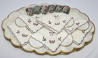 Set of 6 Placemats Coaster Napkins Ring Mother of Pearl Phillipines Capiz Unused