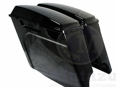 """Mutazu 4"""" Black Fits Harley Stretched Extended bags Touring Hard Saddlebags"""