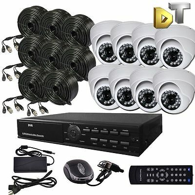 DNT 8 CH CHANNEL DVR Home Video Surveillance white dome Camera Security System
