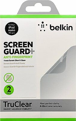 Belkin TrueClear Transparent Screen Protector for iPod Nano 7 Gen - 2 Pack NEW