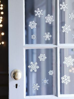 80 Xmas Christmas Window Sticker Decorations Snowflake Glitter Home Shop Decor
