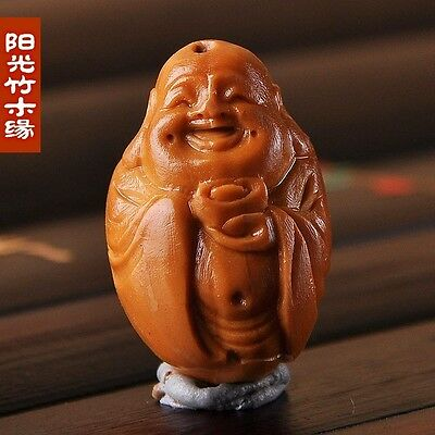 Olive Nut Hand Carved Chinese Maitreya Milo Buddha Statue Sculpture Pendant W569