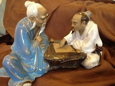 Mud Ware Men Figurine/ Statue Chinese Pottery Figures Playing Board Game Vintage