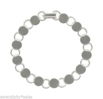 """2 each 8-8.25"""" SILVER Plated BRACELET Blanks Form Finding 13 Round Pads / Discs"""