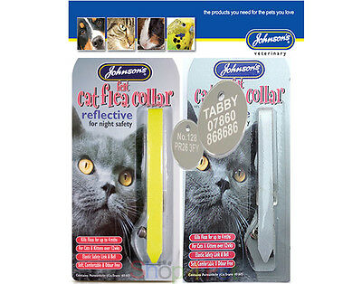 "Cat FLEA Collar ""REFLECTIVE"" by JOHNSONS With or Without a ENGRAVED PET ID TAG"