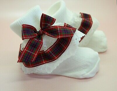 UNIQUE Infant Girls Reborn White Red Tartan Decorated Lacy Frilly Socks 4 Sizes