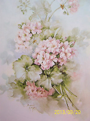 """CHINA PAINTING STUDY #40 """"IVY GERANIUMS"""" SONIE AMES 5 PAGES"""