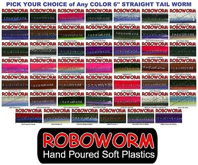 Roboworm 6 Inch Straight Tail Drop Shot Worms SR 10 Pack Pick from 48 Colors